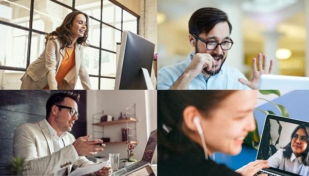 Imagen Tipo Collage de una Reunión Virtual con Participantes Internacionales.